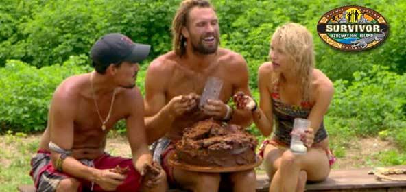Boston Rob Mariano, Grant Mattos and Andrea Boehlke eat cake on Survivor Redemption Island