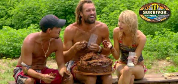 Boston Rob Mariano, Grant Mattos and Andrea Boehlke eat cake on Survivor Redemption Island