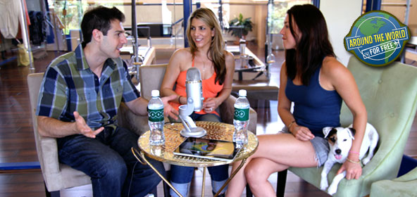 Rob Cesternino and Nicole Cesternino with Parvati Shallow, host of Around the World for Free 3