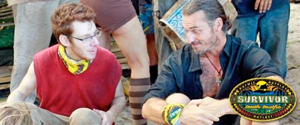 John Cochran conspires with Coach Ben Wade before flipping alliances on Survivor South Pacific.