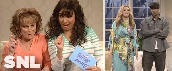 Maya Rudolph with Amy Poehler and Jay Pharoah as she hosts the latest episode of Saturday Night Live