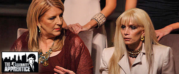 Lisa Lampanelli and Victoria Gotti in the boardroom on Celebrity Apprentice
