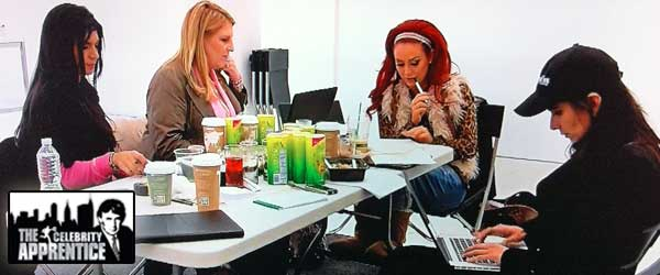 Lisa Lampanelli, Teresa Guiduce, Patricia Velasquez and Aubrey O'Day work during the Celebrity Apprentice