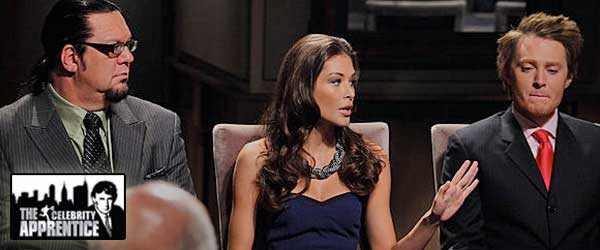 Penn Jillette, Dayana Mendoza and Clay Aiken in the Boardroom on Celebrity Apprentice