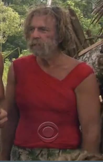 Tarzan wearing a womens shirt on Survivor One World