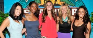 Rob Cesternino Interviews the Final 5 Ladies of Survivor One World. From left to right: Christina Cha, Sabrina Thompson, Survivor Winner Kim Spradlin, Chelsea Meissner, Alicia Rosa