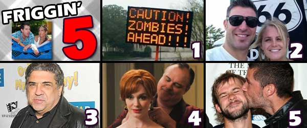 This weeks Friggin Five includes news of how to survive the coming Zombie Apocalypse, Jeff and Jordan have a new show, an interview with Vincent Pastore, Reaction to this week's Mad Men and the feud between Dominic Monaghan and Matthew Fox on Twitter