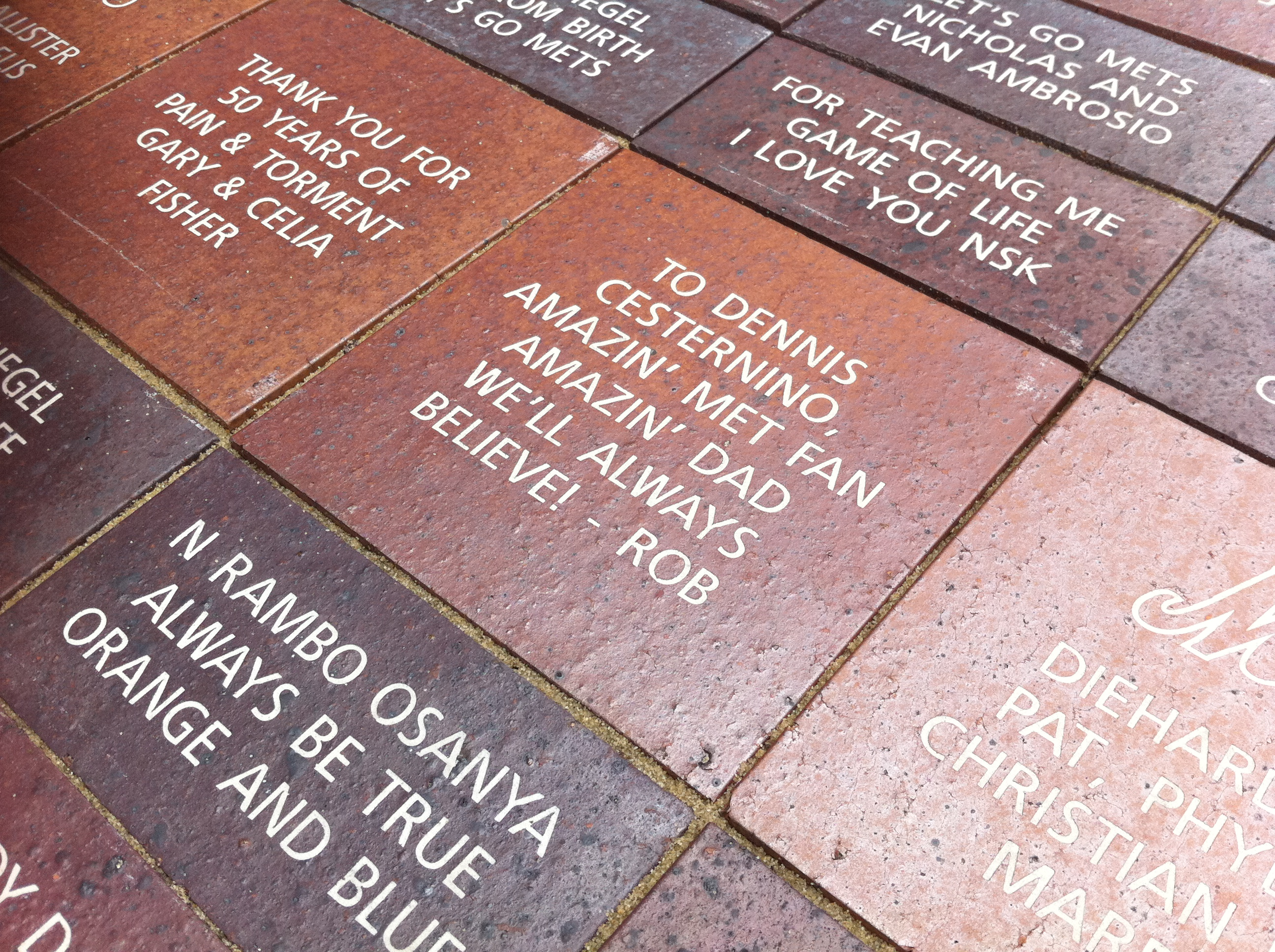 This brick is just outside of Citi Field, Home of the New York Mets