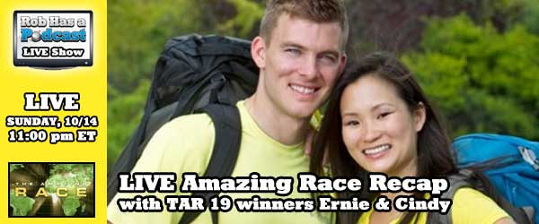 Amazing Race 19 winner Ernie Halvorsen joins Rob to discuss the latest episode of The Amazing Race.
