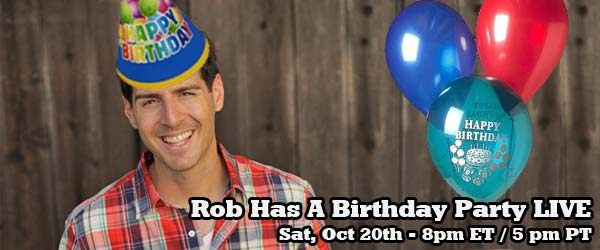 Join Rob Cesternino for a LIVE surprise birthday party on Spreecast