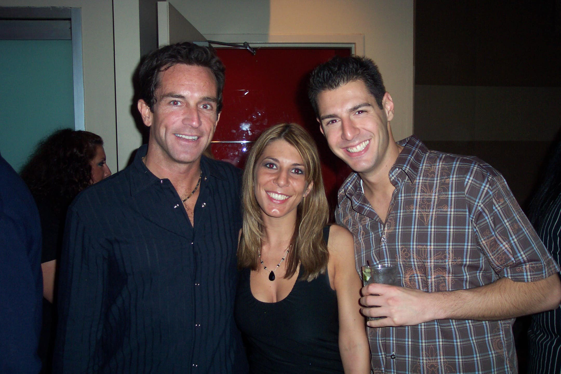 Jeff Probst, Nicole and Rob Cesternino after America's Tribal Council in 2004