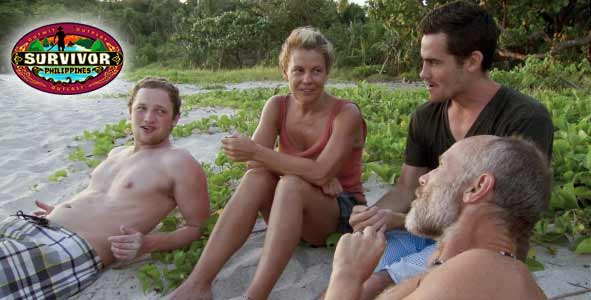 Lis Whelchel with Justice and Mike Skupin with his son, Mike on Survivor Philippines
