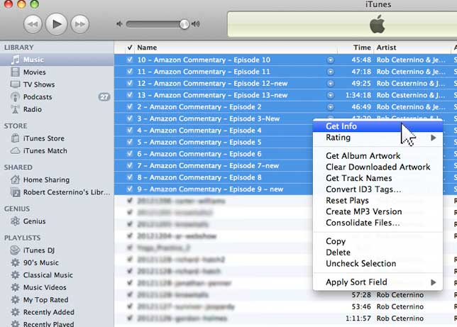 """Step 4: Highlight the commentary tracks in iTunes and right click to select """"Get info"""""""