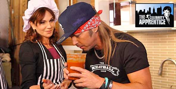 Bret Michaels and Marilu Henner during the meatball task on Celebrity Apprentice