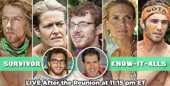 Know-It-Alls Rob Cesternino and Stephen Fishbach will be live after the Survivor Caramoan Finale to discuss the winner after the reunion