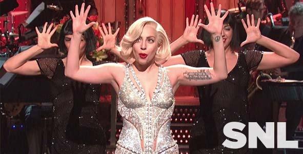 Lady Gaga hosts Saturday Night Live on November 16, 2013
