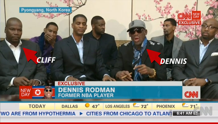 Cliff Robinson with Dennis Rodman in North Korea