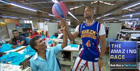 Flight Time was having a ball in the Garment factory on The Amazing Race All-Stars Episode 5