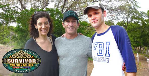 Dalton Ross with Jeff Probst on the set of Survivor: San Juan Del Sur