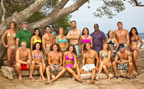 Survivor 2015: The18 cast members making up the White Collar, Blue Collar and No Collar tribes of Survivor Worlds Apart on CBS