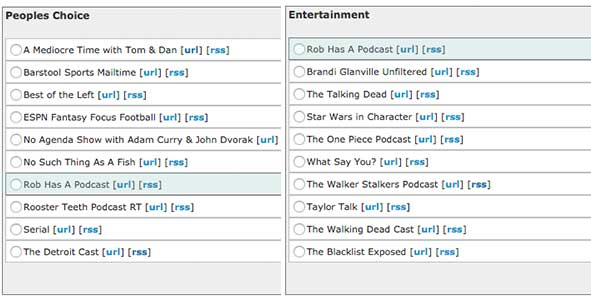 Rob Has a Podcast is nominated in the Best Entertainment and People's Choice categories at the Podcast Awards
