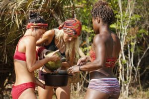 Alecia, Cydney, and Jennifer on the Brawn tribe