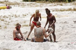 The Brawn tribe in the reward challenge on Survivor Kaoh Rong's fourth episode