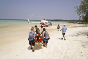 Caleb Reynolds being evacuated on episode 4 of Survivor Kaoh Rong
