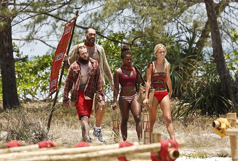 """""""Signed, Sealed and Delivered"""" -- Kyle Jason, Scot Pollard, Cydney Gillon and Alecia Holden during the fourth episode of SURVIVOR KAOH: RONG -- Brains vs. Brawn vs. Beauty. The show airs, Wednesday, March 9 (8:00-9:00 PM, ET/PT) on the CBS Television Network. Photo: Monty Brinton /CBS Entertainment �©2016 CBS Broadcasting, Inc. All Rights. Reserved. Photo: Robert Voets/CBS Entertainment �©2016 CBS Broadcasting, Inc. All Rights Reserved."""