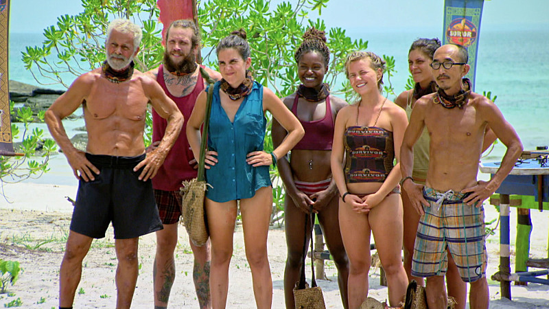 """""""It's a 'Me' Game, Not a 'We' Game"""" -- Joseph Del Campo, Kyle Jason, Aubry Bracco, Cydney Gillon, Julia Sokolowski, Michele Fitzgerald and Tai Trang during the eleventh episode of SURVIVOR: KAOH RONG -- Brains vs. Brawn vs. Beauty. The show airs, Wednesday, April 27 (8:00-9:00 PM, ET/PT) on the CBS Television Network. Photo: Screen Grab /CBS Entertainment �©2016 CBS Broadcasting, Inc. All Rights. Reserved."""