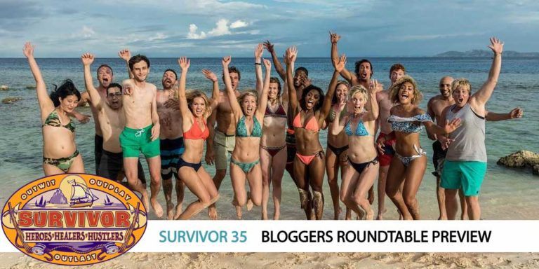 The cast of Survivor: Heroes, Healers, and Hustlers celebrates.