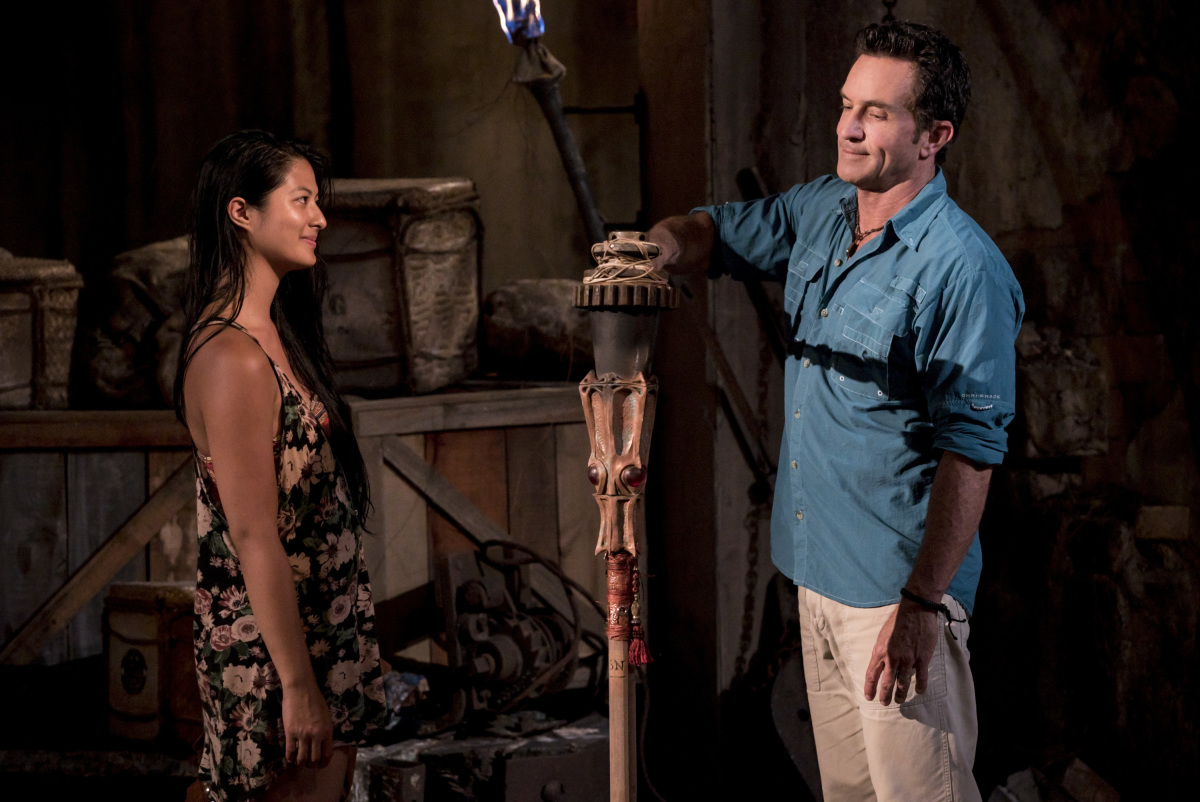 """I'm a Wild Banshee"" - Jeff Probst extinguishes Simone Nguyen's torch at Tribal Council on the second episode of SURVIVOR 35, themed Heroes vs. Healers vs. Hustlers, airing Wednesday, October 4 (8:00-9:00 PM, ET/PT) on the CBS Television Network. Photo: Robert Voets/CBS �©2017 CBS Broadcasting Inc. All Rights Reserved"