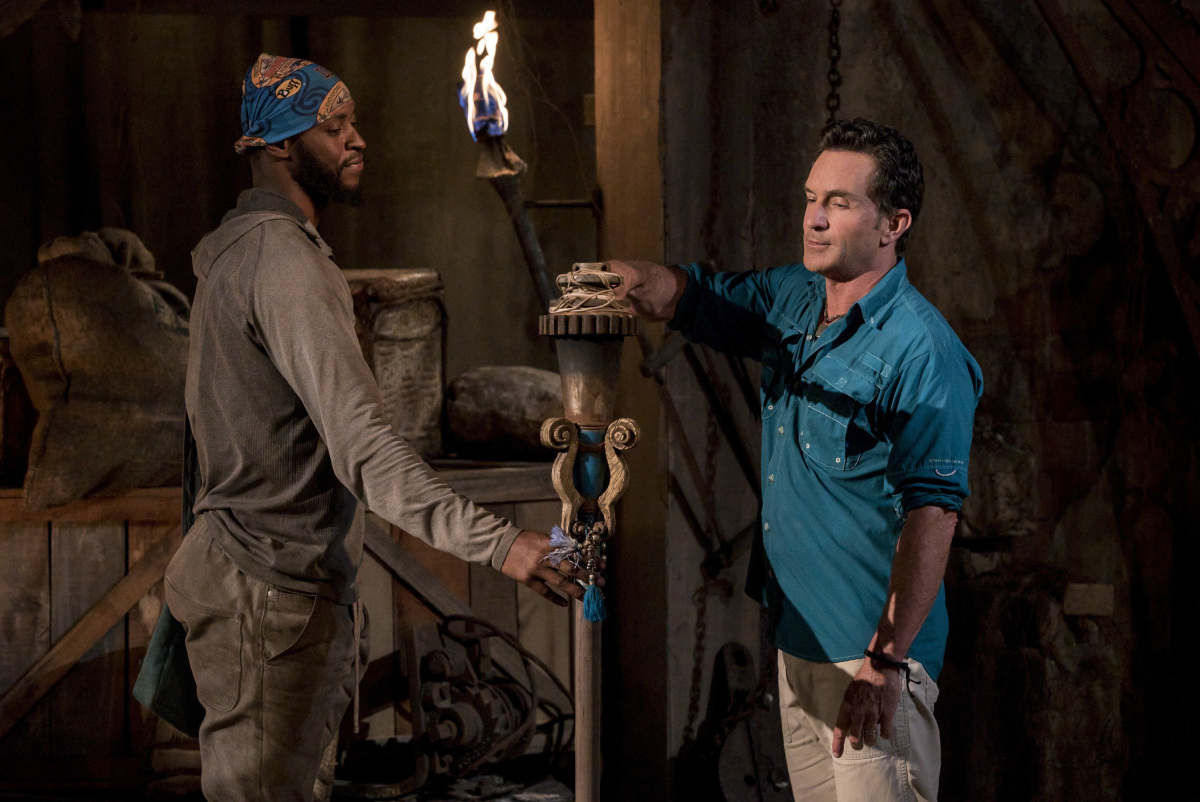 """I Don't Like Having Snakes Around"" - Jeff Probst extinguishes Alan Ball's torch at Tribal Council on the fourth episode of SURVIVOR 35, themed Heroes vs. Healers vs. Hustlers, airing Wednesday, October 18 (8:00-9:00 PM, ET/PT) on the CBS Television Network. Photo: Robert Voets/CBS �©2017 CBS Broadcasting Inc. All Rights Reserved"