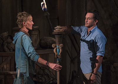 """""""I'm Not Crazy, I'm Confident"""" - Katrina Radke and Jeff Probst at Tribal Council on SURVIVOR, themed Heroes vs. Healers vs. Hustlers. The Emmy Award-winning series returns for its 35th season premiere on, Wednesday, September 27 (8:00-9:00 PM, ET/PT) on the CBS Television Network. Photo: Robert Voets/�©2017 CBS Broadcasting Inc. All Rights Reserved"""