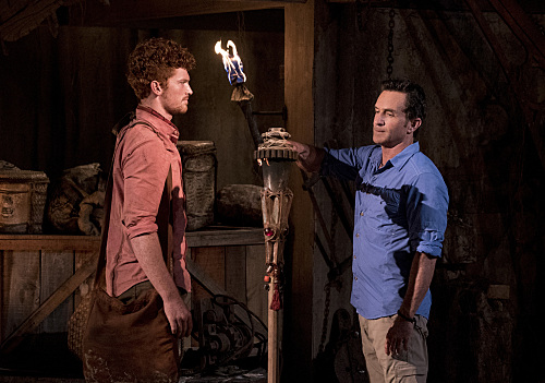 """""""My Kisses Are Very Private"""" - Jeff Probst extinguishes Patrick Bolton's torch at Tribal Council on the third episode of SURVIVOR 35, themed Heroes vs. Healers vs. Hustlers, airing Wednesday, October 11 (8:00-9:00 PM, ET/PT) on the CBS Television Network. Photo: Robert Voets/CBS �©2017 CBS Broadcasting Inc. All Rights Reserved"""