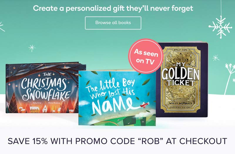 15% off Personalized Children Books with Promo Code: ROB