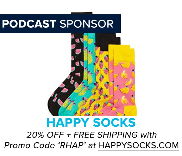 Get 20% off at HappySocks.com with Promo Code RHAP